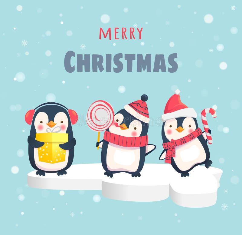 Penguins στο επιπλέον πάγο πάγου ελεύθερη απεικόνιση δικαιώματος