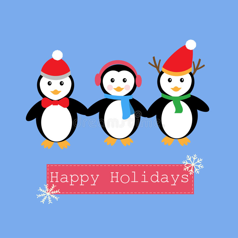 Penguins and banner for Happy Holiday vector illustration