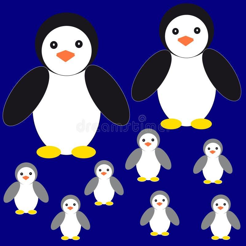 Penguins on blue background. Vector illustration stock illustration
