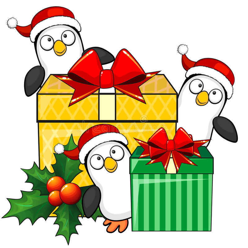 Penguins and christmas gifts stock vector image