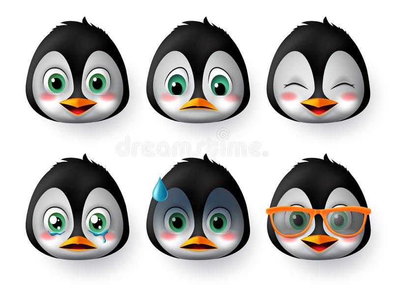 Penguins emoji or emoticon face vector set. Penguin emoji animal face wearing sunglasses with happy, scared, crying, and sad. royalty free stock photos