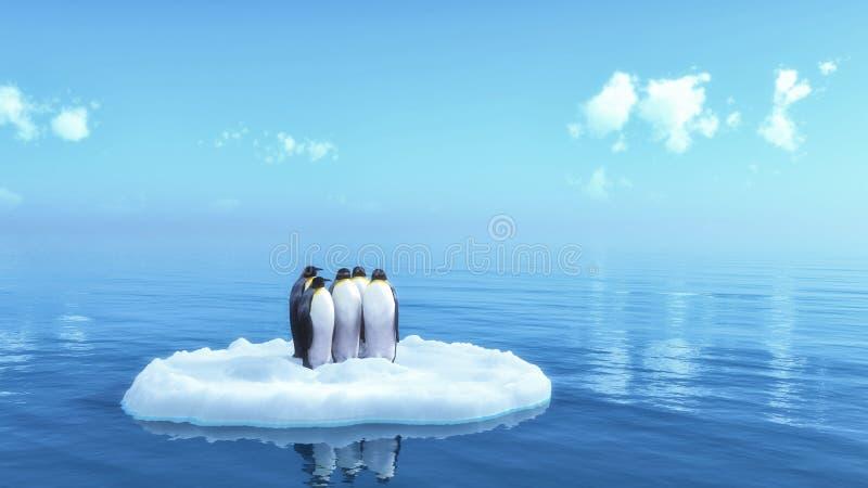 Penguins. Floating on ice shelf