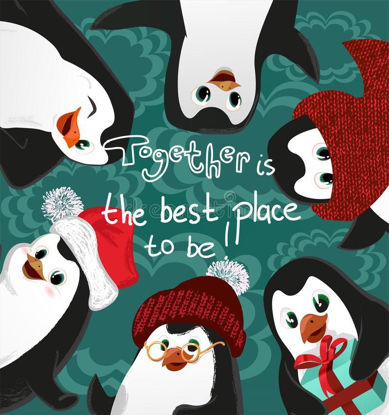 Penguins friends christmas vector card, together is the best place to be. Penguins friends christmas vector card, together stock image