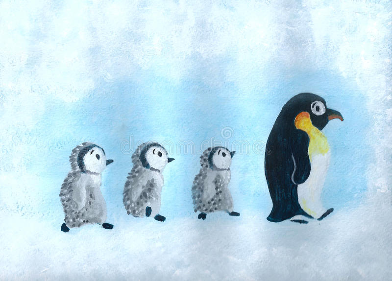 Penguins march. Acrylic painting about a cute penguins family marching in the cold iceland