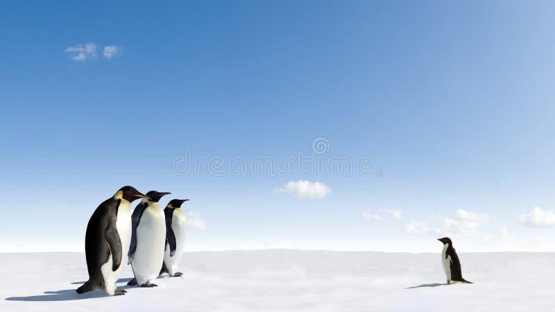Penguins Meeting. Meeting between Emperor penguins and a Adelie penguin on frozen arctic ice