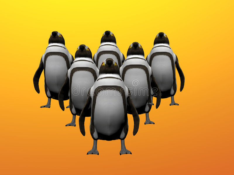 Penguins On Point stock illustration