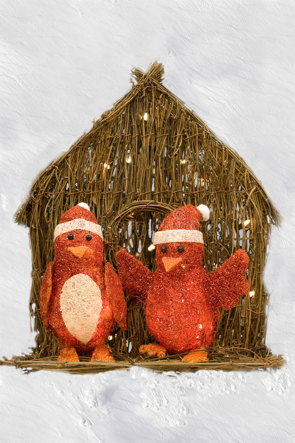 Penguins in red for Christmas