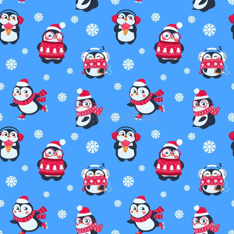Penguins seamless pattern. Cute christmas package with funny baby penguin. Winter holiday vector textile background vector illustration