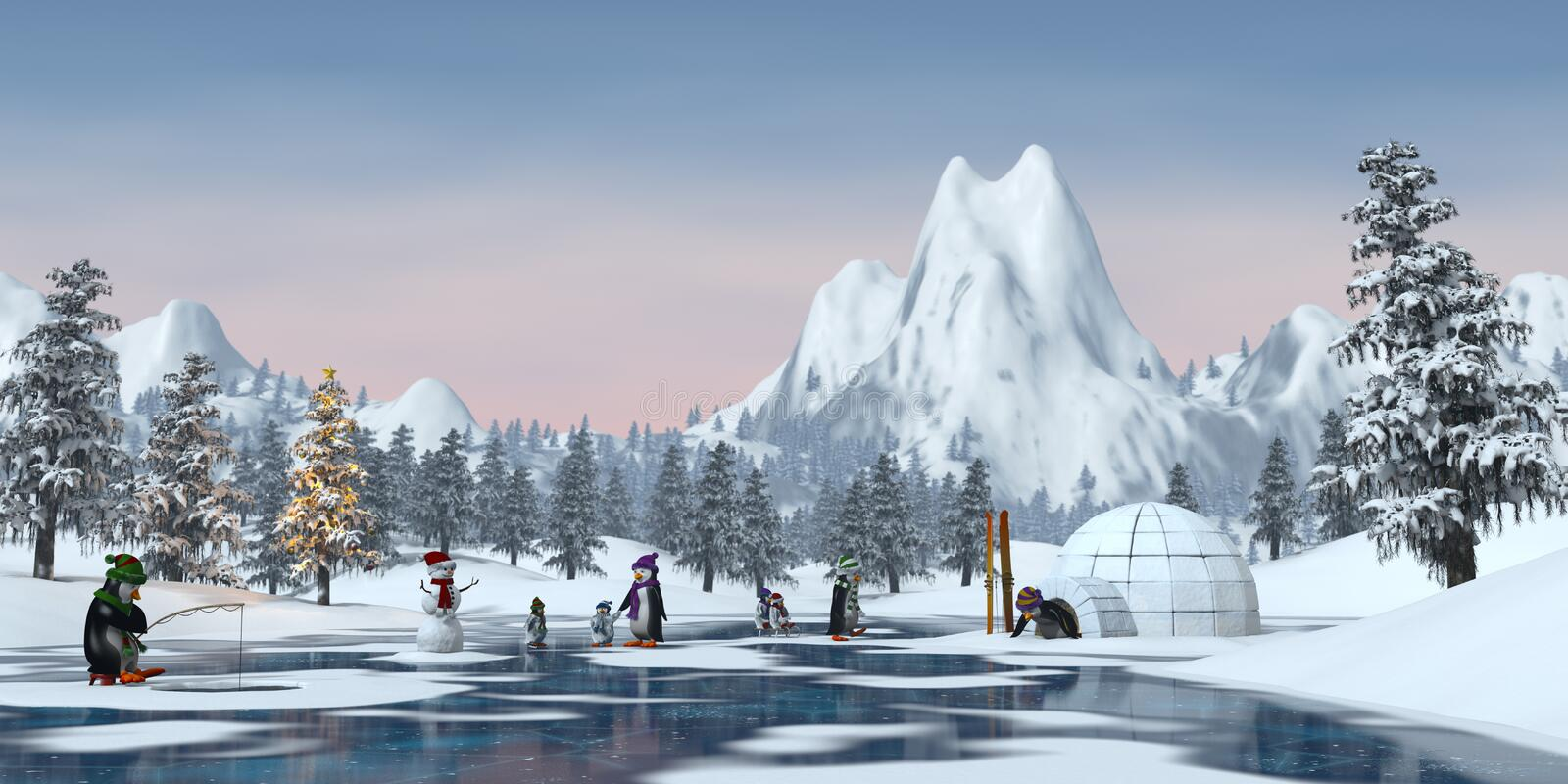 Penguins in a snowy Christmas mountain landscape, 3d render royalty free illustration