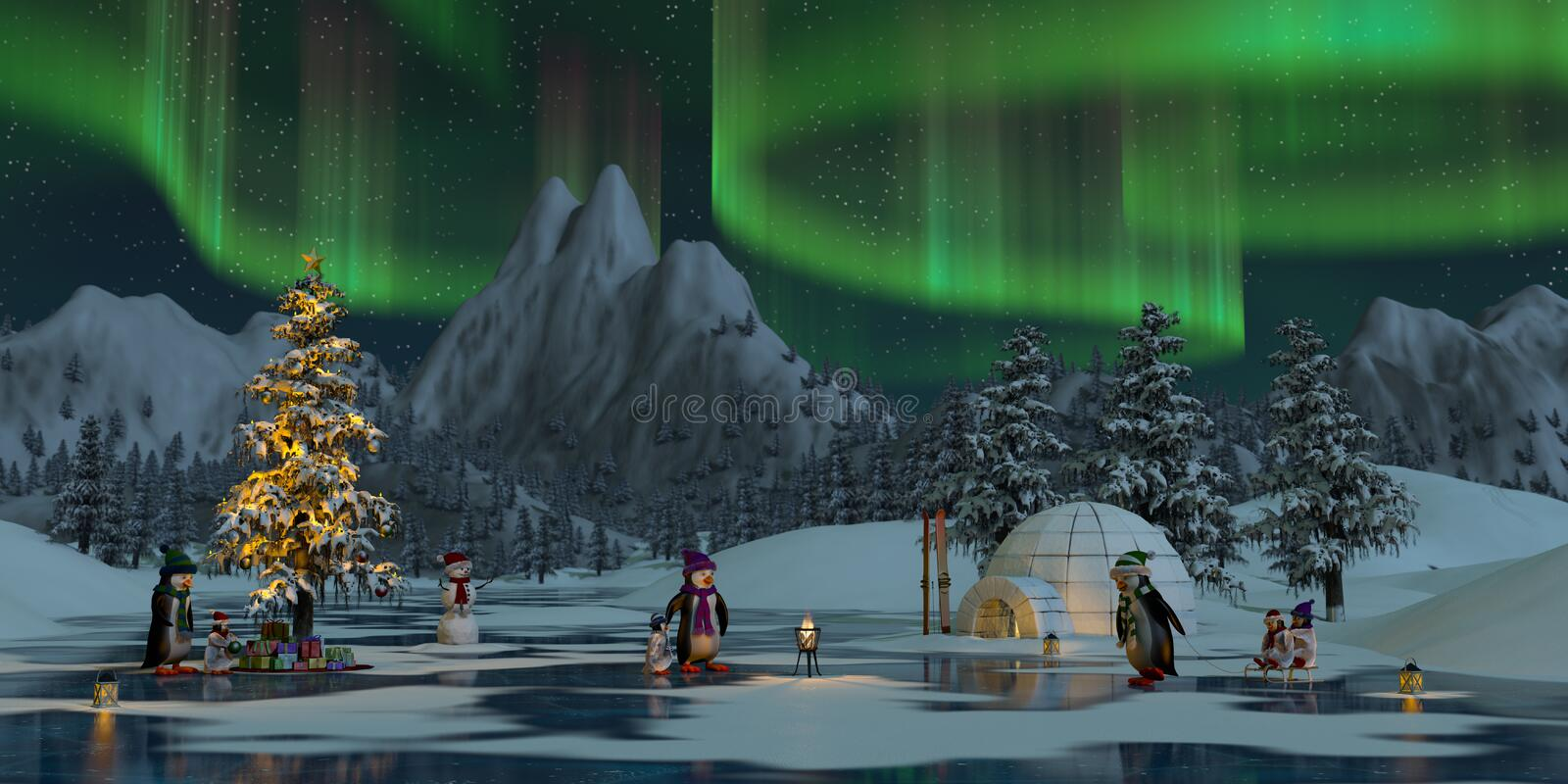Penguins under the northern lights at Christmas time stock photography