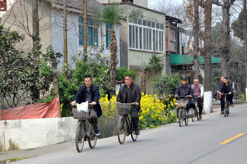 Pengzhou, China: Bicyclists on Country Road. A group of six elderly men riding their bicycles along a country road pass a complex of Sichuan farmhouses near the stock image