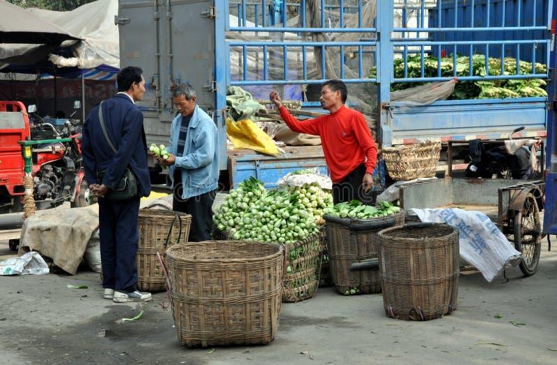 Pengzhou, China: Farmers at Co-op Market