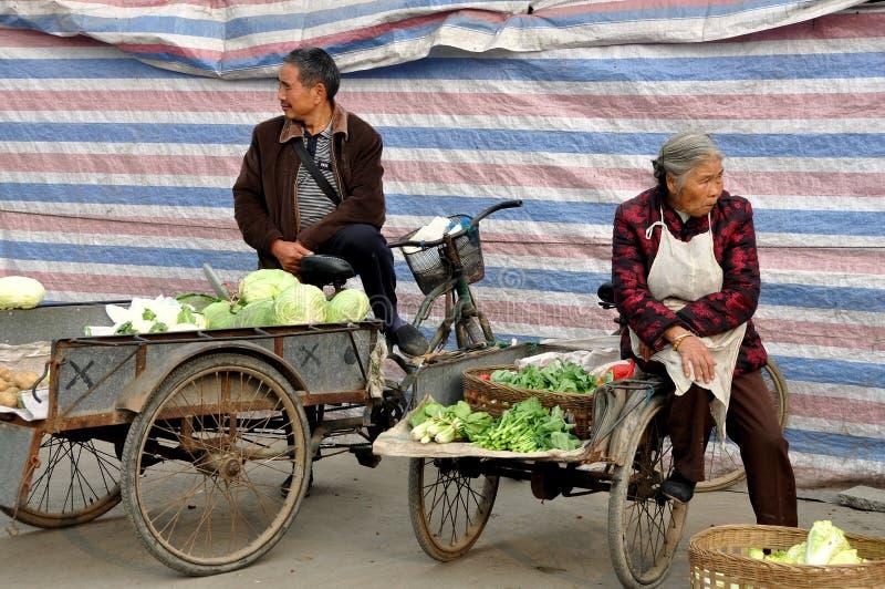 Pengzhou, China: Farmers Selling Produce royalty free stock photos