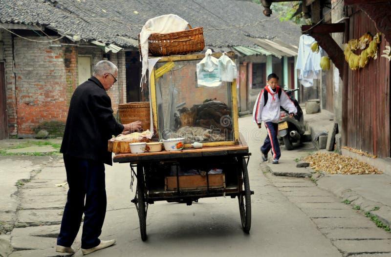 Pengzhou, China: Food Vendor on Hua Lu