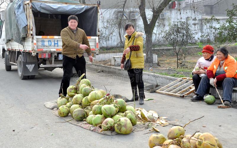 Pengzhou, China: Leute, die Kokosnüsse verkaufen stockbild