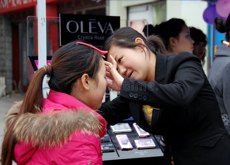 Pengzhou, China: Makeup Artist & Client