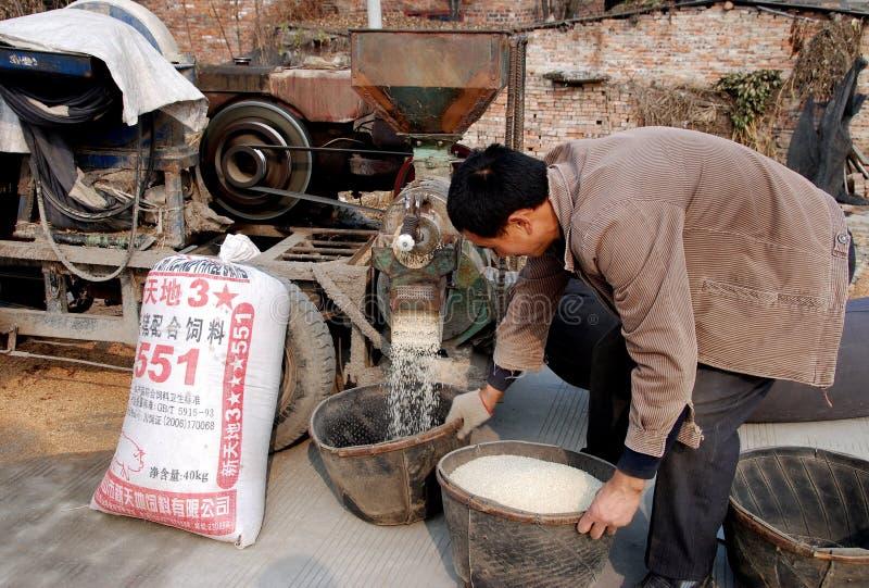 Pengzhou, China: Mann-schälende Reis-Körner stockbilder