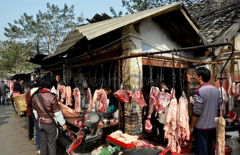 Download Pengzhou, China: Outdoor Butcher Shop Editorial Photography - Image: 15063527