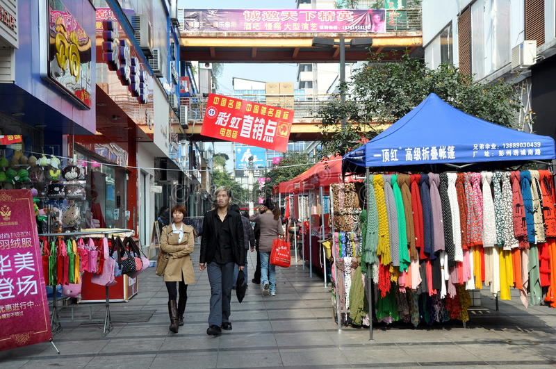 Download Pengzhou, China: Pedestrians-only  Shopping Mall Editorial Stock Image - Image: 22081984