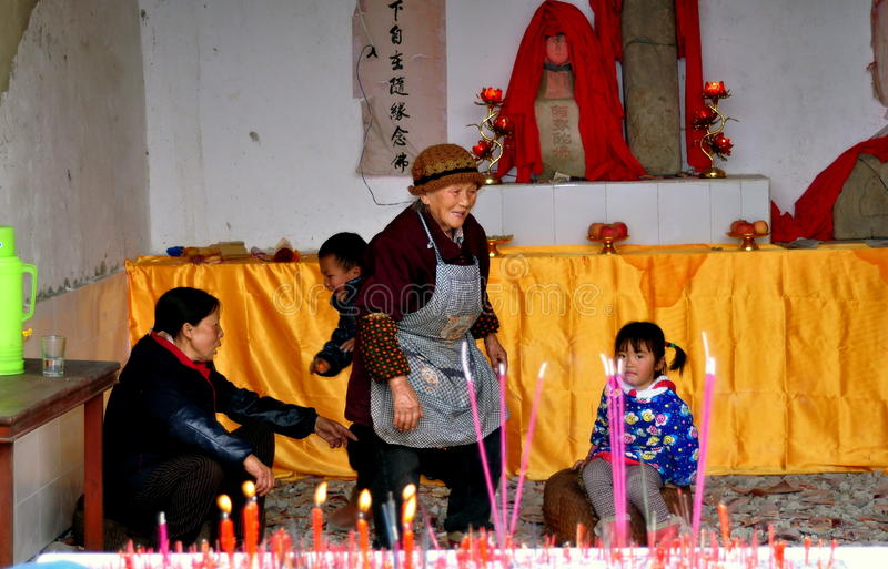 Download Pengzhou, China: People In Country Shrine Editorial Stock Photo - Image: 29040108