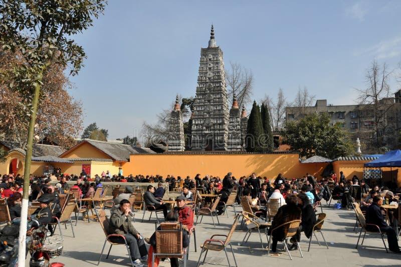 Pengzhou,China: Tea Garden at Long Xing Monastery stock image