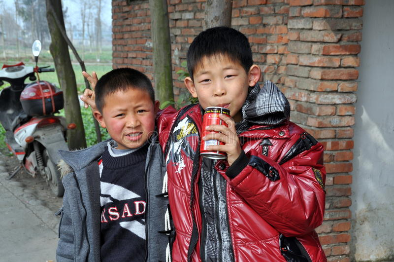 Pengzhou, China: Two Little Boys royalty free stock images