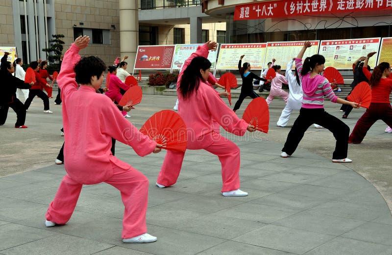 Pengzhou, Chine : Classe d'exercice de Chi de Tai ' photographie stock