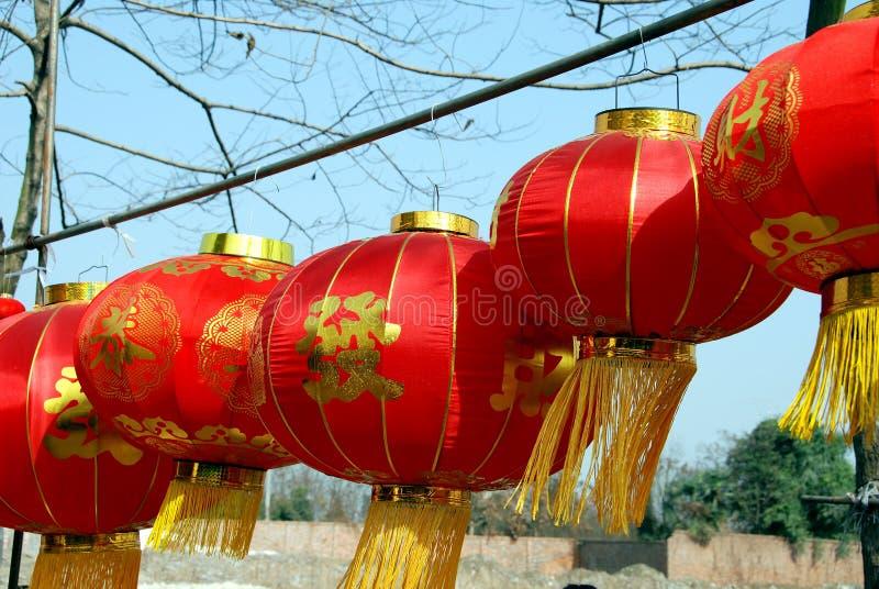 Pengzhou, Chine : Lanternes lunaires d'an neuf image libre de droits