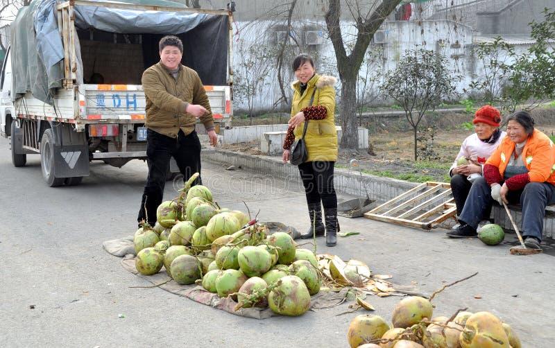 Pengzhou, Chine : Les gens vendant des noix de coco image stock