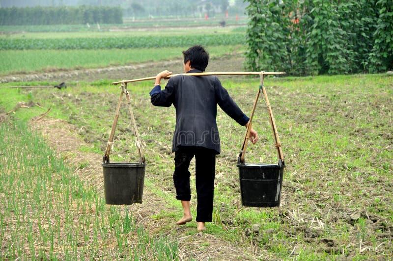 Pengzhou Kina: Barfota kvinna i lantgårdfält royaltyfri bild