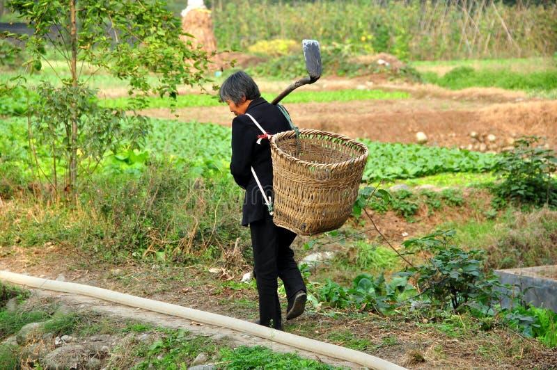 Pengzhou Kina: Kvinna i fält med skyffeln och korgen royaltyfria foton