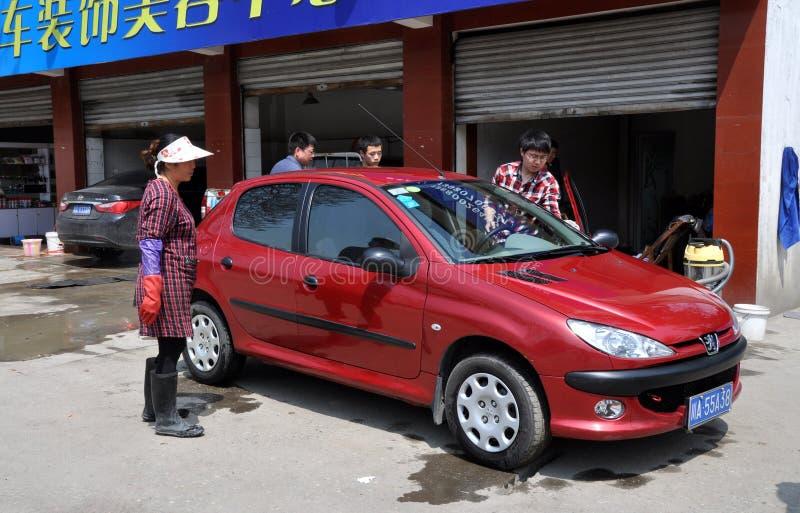 Pengzhou, negozio del lavaggio di automobile di ChinaL fotografia stock libera da diritti
