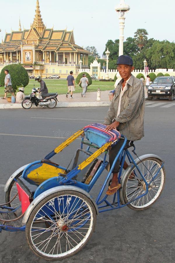 penh phnom trishaw fotografia royalty free