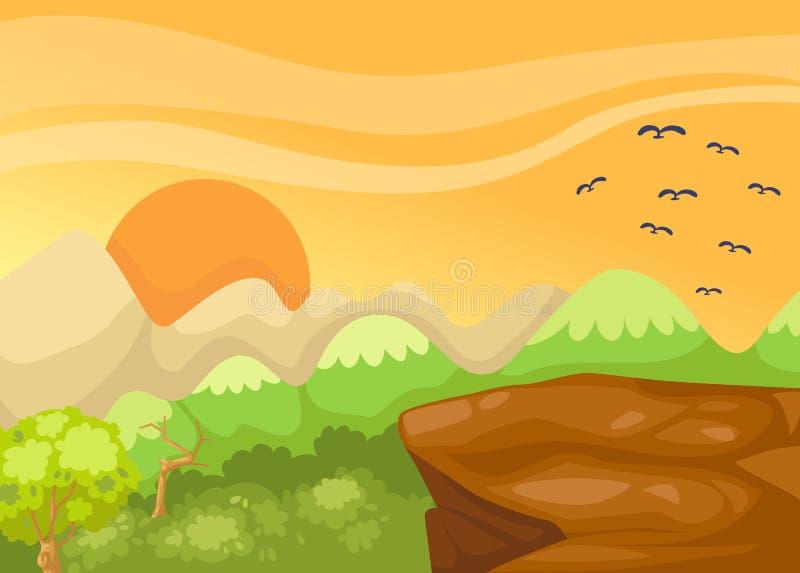 Penhasco da paisagem na selva ilustração royalty free