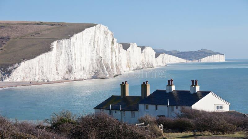 Penhasco de sete irmãs em Sussex do leste Inglaterra fotografia de stock royalty free