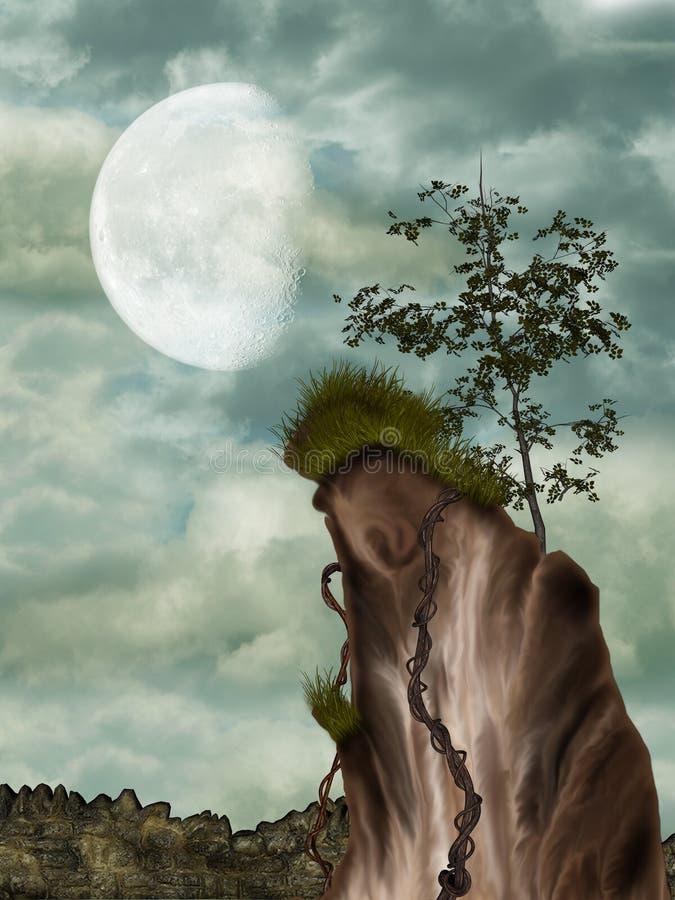 Penhasco e árvore ilustração do vetor