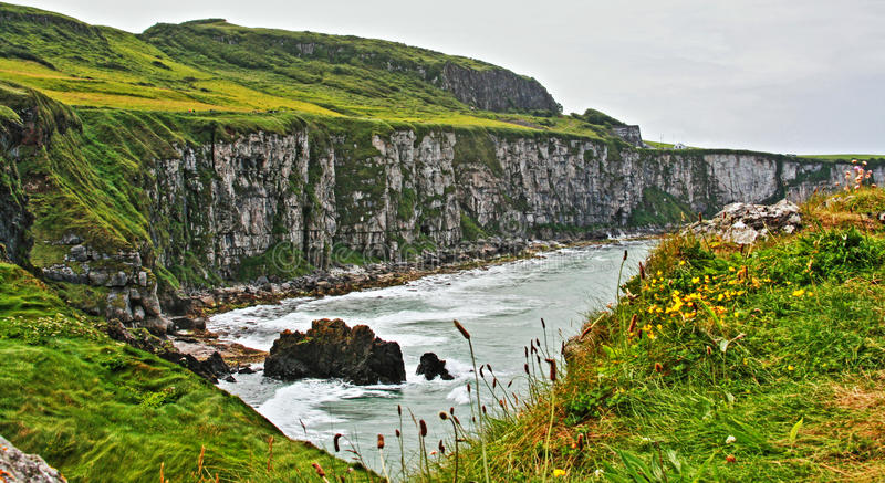 Penhascos ao longo da costa irlandesa ao lado da ilha minúscula de Carrick-a-rede imagem de stock