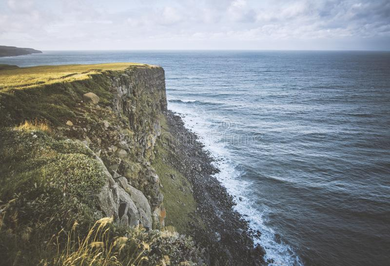 Penhascos do litoral de Islândia imagens de stock royalty free