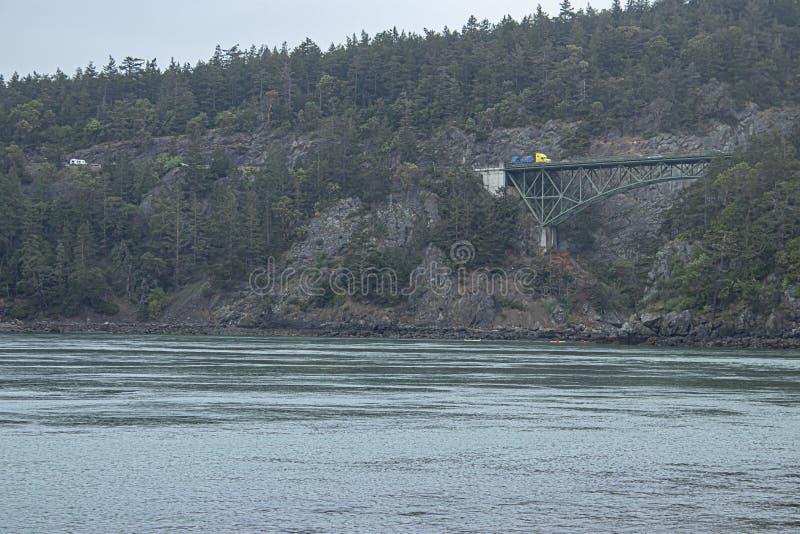 Penhascos florestados distantes do beira-mar com uma ponte que cruza a diferença imagem de stock royalty free