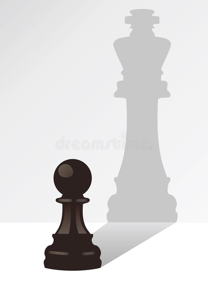 Penhor da xadrez com a sombra de um rei ilustração stock