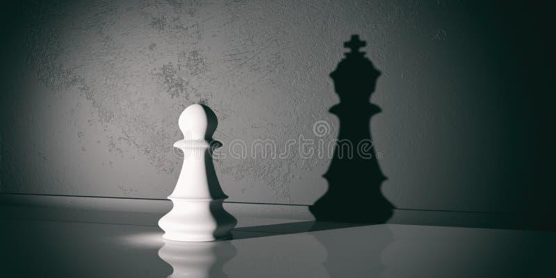 penhor da xadrez da rendição 3d e sombra do rei ilustração stock