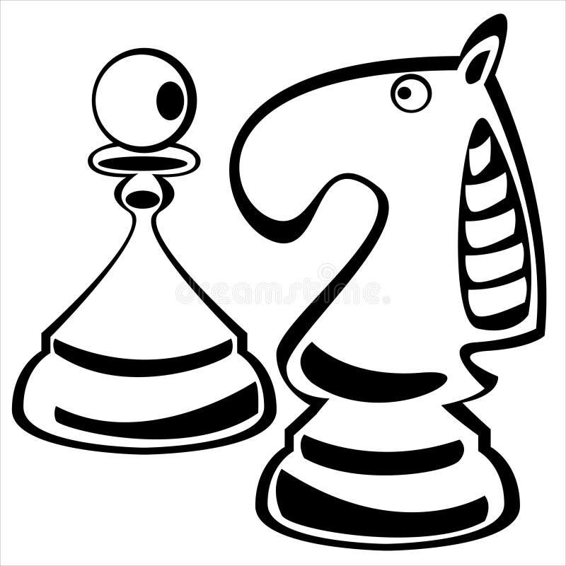 Penhor e cavaleiro da xadrez no branco ilustração stock
