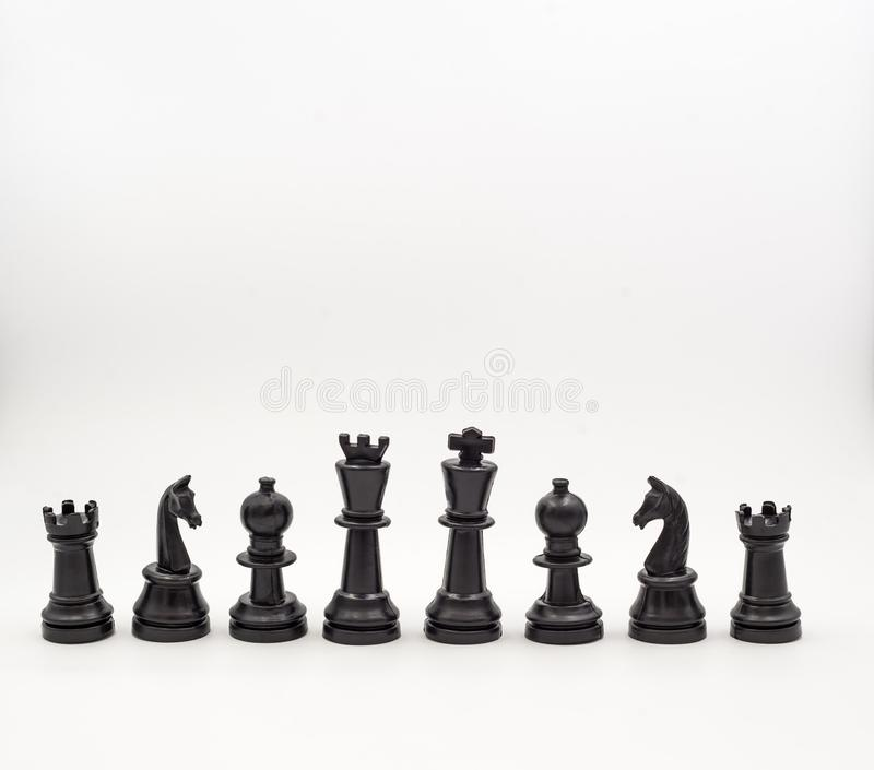 Penhores da xadrez no fundo branco, isolado foto de stock royalty free