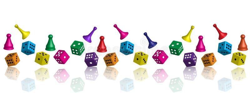 Penhores diferentes do jogo para o lazer e dados em várias quantidades ilustração royalty free