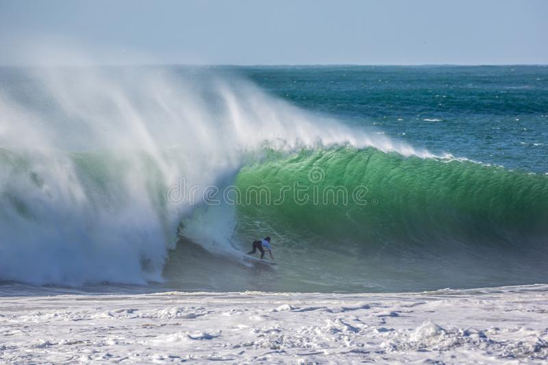 Peniche, Portugal - Oct 25th 2017 - Ian Goveia surfing a wave during the World Surf League`s 2017 MEO Rip Curl Pro Portugal surf stock photos