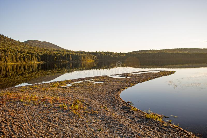 Peninsula On Big Nictau At Mount Carleton Provincial Park. Looking across Big Nictau Lake at Mount Sagamook in Mount Carleton Provincial Park. The location is in royalty free stock images