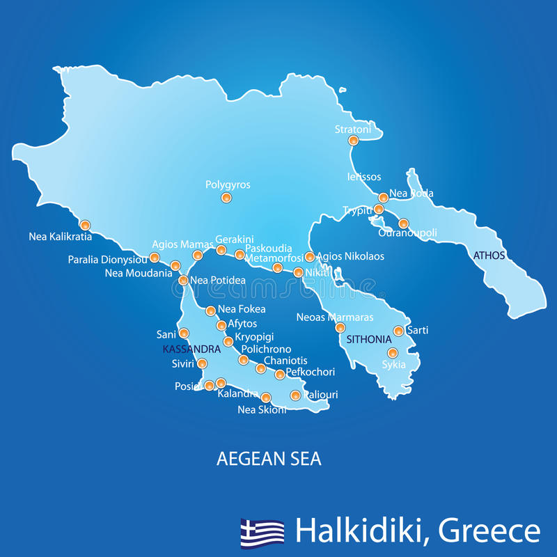 Peninsula Of Halkidiki In Greece Map Stock Vector Illustration of