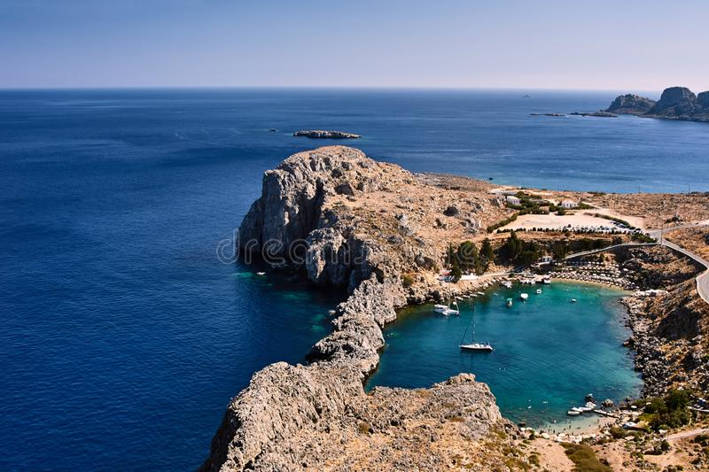 Peninsula and the mountains on the Greek island stock image