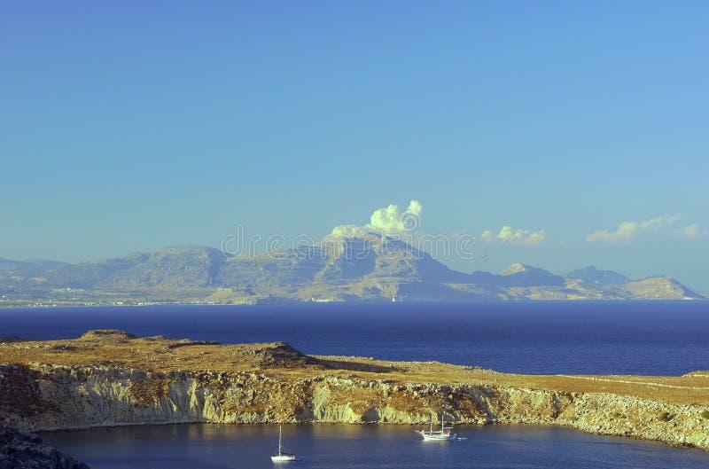 Peninsula and the mountains stock photos
