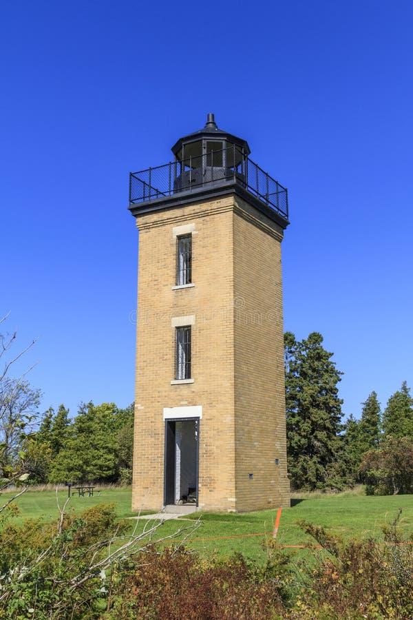 Peninsula Point Lighthouse. On Stonington Peninsula on Lake Michigan, Delta County, Michigan, USA royalty free stock image
